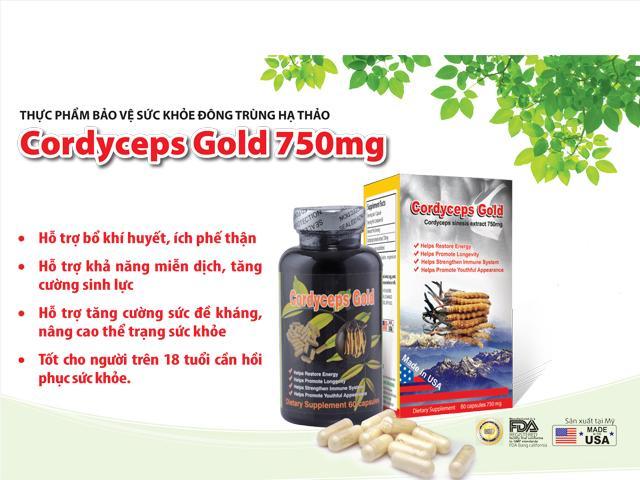 Đông trùng hạ thảo Cordyceps Gold 750 mg giá bao nhiêu, mua ở đâu?