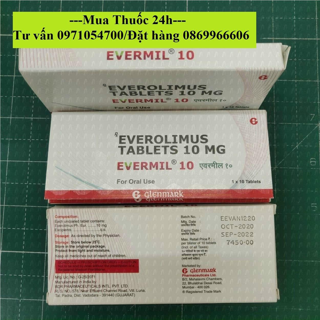 Thuốc Evermil (Everolimus) giá bao nhiêu mua ở đâu?